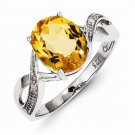 STERLING SILVER 2.0CT GENUINE YELLOW CITRINE & DIAMOND RING - SIZE 6