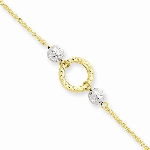 "14K GOLD TWO-TONE BEAD & CIRCLE ANKLET -  ADJUSTABLE 9/10""   1.3 GM"