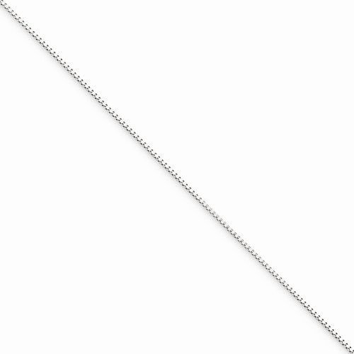 "10K WHITE GOLD THIN BOX LINK NECKLACE  PENDANT CHAIN  16""  0.5 mm  0.8 grams"