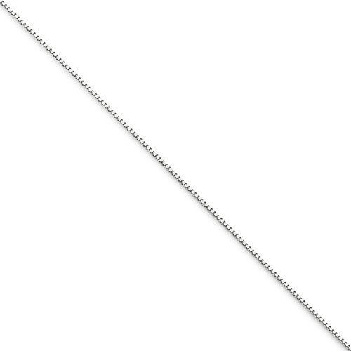 """10K WHITE GOLD THIN BOX LINK NECKLACE  PENDANT CHAIN  16""""  0.7 mm  1.04 grams"""