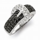 STERLING SILVER BLACK & WHITE/CLEAR CZ BUCKLE RING -  5 GRAMS - SIZE 7