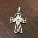 925 STERLING SILVER OPEN/FILIGREE CROSS CHARM/PENDANT - RELIGIOUS JESUS