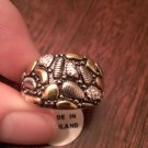 ANTIQUE FINISH STERLING SILVER RING WITH GOLD VERMEIL ACCENTS  925 NWT