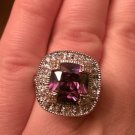 ANTIQUE STYLE HALO SETTING STERLING SILVER COCKTAIL RING  SIMULATED AMETHYST 925