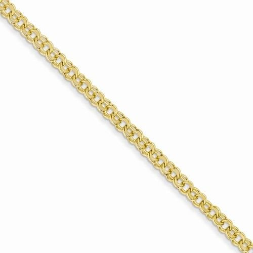 """14K SOLID YELLOW GOLD 3.75mm  POLISHED DOUBLE LINK CHARM BRACELET  5 GRAMS  7"""""""