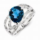 STERLING SILVER NATURAL GENUINE 3.65CT LONDON BLUE TOPAZ & DIAMOND RING