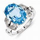 STERLING SILVER GENUINE 6.5CT LIGHT SWISS BLUE TOPAZ & DIAMOND ACCENT RING