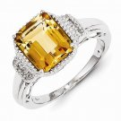 STERLING SILVER 2.3CT GENUINE YELLOW CITRINE & WHITE TOPAZ RING - SIZE 7