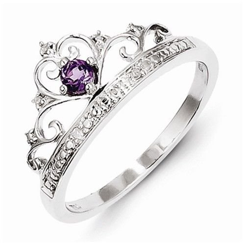 STERLING SILVER NATURAL GENUINE AMETHYST & DIAMOND CROWN RING - SIZE 9
