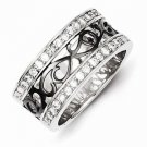 BEAUTIFUL STERLING SILVER BLACK FILIGREE DESIGN WITH CZ RING- 9mm WIDTH - SIZE 8