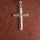 10K YELLOW GOLD POLISHED TEXTURED CROSS CHARM / PENDANT (MEN/WOMEN)  RELIGIOUS