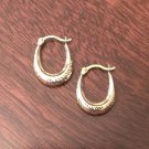 10K GOLD SMALL TEXTURED OVAL HOOP EARRINGS  POLISHED HOLLOW HOOPS (3x15mm)