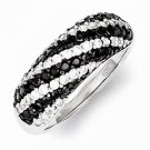 UNIQUE STERLING SILVER BLACK AND WHITE STRIPED CZ RING - SIZE 6