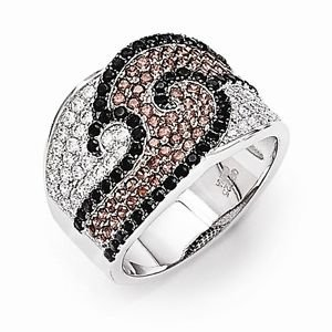 BRILLIANT EMBERS STERLING SILVER WHITE PINK & BLACK CZ SWIRL RING - SIZE 7