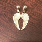 14K YELLOW GOLD ANGEL WINGS BREAK AWAY/APART PENDANT FRIENDSHIP CHARM