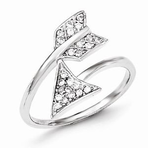 SOLID STERLING SILVER POLISHED ADJUSTABLE CZ ARROW RING