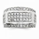 14K WHITE GOLD MEN'S LARGE 2 CT DIAMOND CLUSTER RING - 12.8 GRAMS  SIZE 10