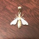 14K SOLID GOLD TWO-TONE TEXTURED BEE CHARM / PENDANT  (0.55 GRAMS  0.8 INCHES)