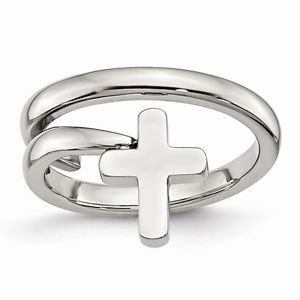 CHISEL BRAND POLISHED STAINLESS STEEL TWISTED CROSS  RING - SIZE 6