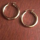 14K YELLOW GOLD POLISHED PLAIN HOOPS/ HOLLOW HOOP EARRINGS  4mm x 30mm  2.9 GM