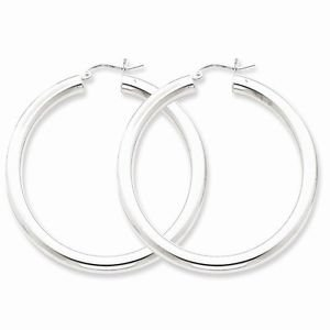 "STERLING SILVER HOOP EARRINGS / HOLLOW  HOOPS- 4mm - 1.9"" -  6  GRAMS"