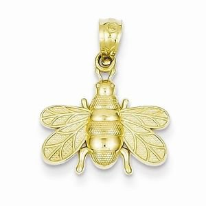 14K YELLOW GOLD SMALL POLISHED BEE  PENDANT / CHARM - 0.8 GRAMS