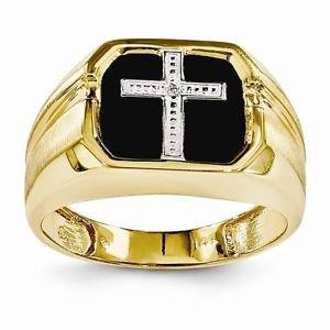 14K YELLOW GOLD ONYX & DIAMOND MEN'S CROSS RING - 4.3 GRAMS  SIZE 11