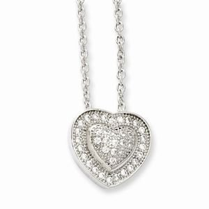 """BRILLIANT EMBERS STERLING SILVER & CLEAR CZ  HEART NECKLACE - 18"""""""