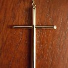 14K YELLOW GOLD POLISHED HOLLOW CROSS CHARM / PENDANT -  1.6 GRAMS