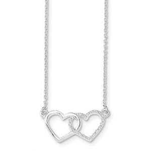 """STERLING SILVER POLISHED AND TEXTURED DOUBLE HEART NECKLACE - 18"""""""