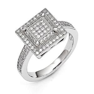STERLING SILVER BRILLIANT EMBERS MODERN SQUARE TOP CZ CLUSTER RING - SIZE 6