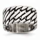 STAINLESS STEEL MENS POLISHED TREAD DESIGN RING 12MM WIDTH -  SIZE 10