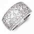 BEAUTIFUL STERLING SILVER VINTAGE STYLE FILIGREE CZ RING / BAND - SIZE 6