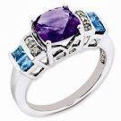STERLING SILVER 2 CT AMETHYST, SWISS BLUE TOPAZ & DIAMOND RING - SIZE 6