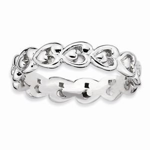STERLING SILVER STACKABLE EXPRESSIONS POLISHED HEART  BAND / RING - SIZE 6