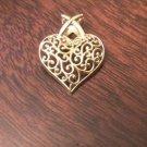 14K YELLOW GOLD FILIGREE HEART CHARM PENDANT - 1 GRAM