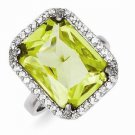 STERLING SILVER EMERALD CUT RECTANGULAR CLEAR AND LIGHT GREEN CZ RING - SIZE 7