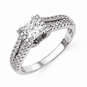 STERLING SILVER BRILLIANT EMBERS PRINCESS CUT SQUARE CZ RING - SIZE 8