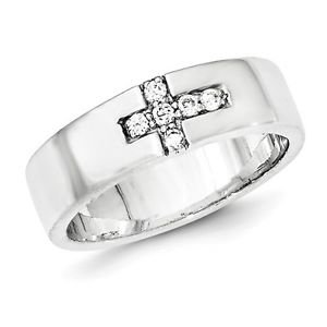 SOLID STERLING SILVER CZ SIDEWAYS CROSS RING / 6MM WIDTH POLISHED BAND -  SIZE 6
