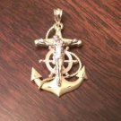 14K SOLID GOLD TRI-COLOR MARINER'S ANCHOR CRUCIFIX CROSS CHARM  PENDANT - 4.3 GM