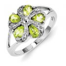 STERLING SILVER NATURAL PERIDOT & DIAMOND FLOWER CLUSTER RING BAND - SIZE 8