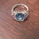 STERLING SILVER 3.4CT LIGHT SWISS BLUE TOPAZ, AMETHYST, &  PERIDOT RING -SIZE 10