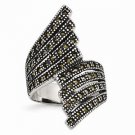 STAINLESS STEEL POLISHED AND ANTIQUED CONTEMPORARY MARCASITE RING - SIZE 6