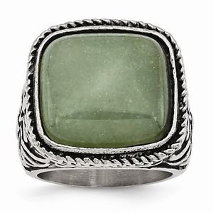 CHISEL BRAND ANTIQUED STAINLESS STEEL CHALCEDONY AVENTURINE RING -  SIZE 7