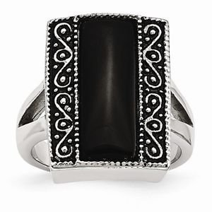 CHISEL BRAND ANTIQUED STAINLESS STEEL RECTANGULAR NATURAL ONYX RING -  SIZE 7