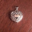 14K WHITE GOLD SMALL TEXTURED SCROLL DESIGN HEART LOCKET - 0.7 GRAMS - 0.8""