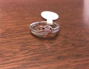 STERLING SILVER POLISHED TWO TONE CZ HEART RING  - SIZE 7