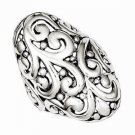ANTIQUED SOLID STERLING SILVER FILIGREE RING - STYLISH- SIZE 8
