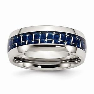 8MM  POLISHED STAINLESS STEEL BLUE CARBON FIBER INSERT BAND/ RING  - SIZE 9.5
