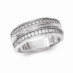 SOLID STERLING SILVER POLISHED CZ BAND / RING  -SIZE 6
